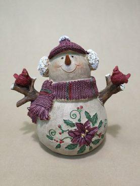 Снеговик с птичками