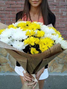 Солнечный букет из кустовой хризантемы
