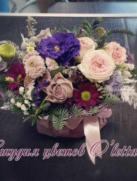 Мини композиция с розой и эустомой