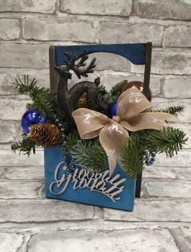 Деревянный ящик, композиция с Новым годом